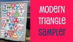 Learn all the ins and outs of working with triangles, diamonds, hexagons and more using a #triangleruler There's so much to this class, I have included three quilt sizes each in two settings. We look at secondary patterns, mixing blocks and more. Just one of the classes you get in your library when you subscribe. Patchwork Patterns, Quilt Patterns, Triangles, Triangle Quilts, Geometric Quilt, Sampler Quilts, Foundation Paper Piecing, Triangle Pattern, Quilt Sizes