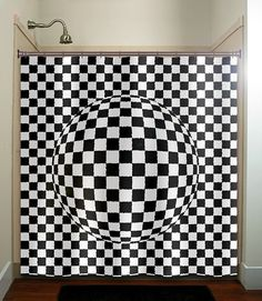 checkerboard 3D sphere shower curtain