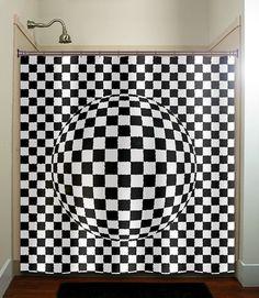 checkerboard 3D sphere shower curtain