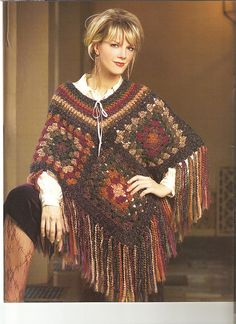 poncho-large granny squares - striped neck line