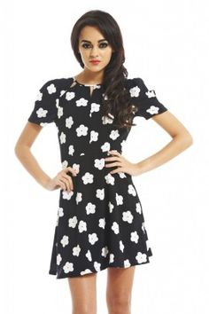 MONOCHROME DAISY CUT OUT DRESS
