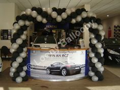 Spiral (framed) arch for Peugeot VIP weekend, Cambridge.