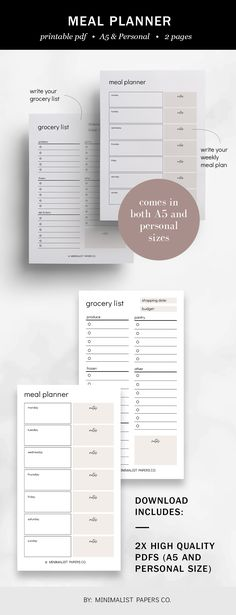 Meal Planner and Grocery List Printable, Weekly Meal Planner, Shopping List, Menu Planner, Fitness Planner Inserts, Minimalist Planner - A5 & Personal Size For Individual Who Loves Minimalistic And Clean Design, Instant Download! Grocery List Printable, Grocery Lists, Printable Planner, Printables, Planner Dividers, Planner Inserts, Weekly Meal Planner, Menu Planners, Fitness Planner