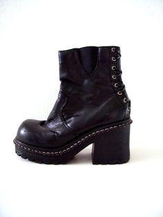 90s Black Chunky Grunge Boots  Chunky Heel by aVintageVagrant https://www.etsy.com/shop/aVintageVagrant?ref=hdr_shop_menu