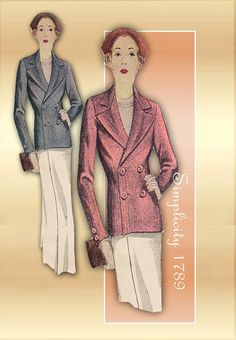 Sewing Pattern 1930s Simplicity 1789 Tailored by FloradoraPresents