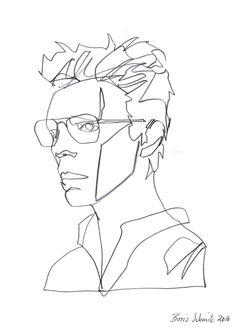 """David Bowie"", continuous line drawing by Boris Schmitz"