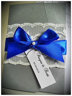 Vintage Lace Pocketfold Wedding Invitations. Royal Blue, Silver And White