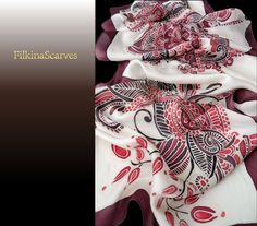 Paisley Hand Painted Silk Scarf Batik Silk by FilkinaScarves