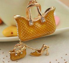 Two Gold Bags High Heel Shoe New Fashion Cute Swarovski Crystal Key Chain Gift