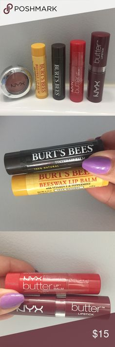 Burst Bee / NYX Beauty Bundle (Set of 5) Burst Bee / NYX Beauty Bundle (Set of 5):   - NYX: Fireball Primastic Shadow (1.24g) - Burst Bee: Beeswax Lip Balm with Vitamin E & Peppermint (4.25g) - Burst Bee: Red Dahlia Tinted Lip Balm - NYX: Butter Lip Balm (4g) - NYX: Butter Lipstick Ripe Berry (4.5g)  Brand new /sealed (See photos) NYX Cosmetics Makeup Lip Balm & Gloss