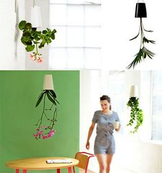 hanging planters in white and black colors