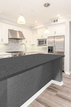 A full body vitrified tile in a gorgeous dark grey, this should be your go-to for kitchen unit tops, terraces, wash basins, and so on. Requiring little maintenance, and with it's features of resistance to acids, chemicals, as well as being stain and scratch proof, this tile is the perfect combination of elegance and practicality. #countertop #kitchenideas #tabletop
