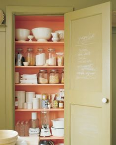 Martha Stewart coral pantry closet shelves #homedecor #coral