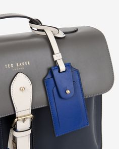 Colour block leather satchel bag - Gunmetal | Bags | Ted Baker UK