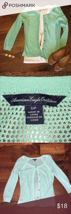 American Eagle turquoise  mesh cardigan. Super cute mesh cardigan from American Eagle.  Like new. American Eagle Outfitters Sweaters Cardigans