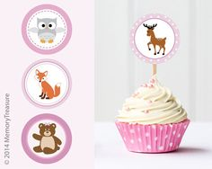 Forest Animal Baby Shower Cupcake Toppers by MemoryTreasure