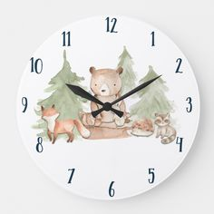 Shop Watercolor Woodland Forest Animals Nursery Bedroom Large Clock created by printabledigidesigns. Personalize it with photos & text or purchase as is! Woodland Creatures Nursery, Woodland Baby Nursery, Woodland Room, Forest Nursery, Woodland Forest, Woodland Theme Bedroom, Woodsy Nursery, Forest Bedroom, Forest Theme