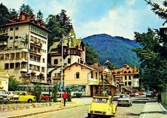 "1974 postcard from Romania, Sinaia, featuring DACIA 1100, MOSKVITCH  / Москвич 403 + 408, TRABANT 601, OPEL Rekord P2,  GAZ-M24 Volga / ГАЗ-24 Во́лга, MERCEDES-BENZ O302/O303 bus, SETRA S10 bus (x2), ŠKODA 100, VW Beetle +411(!!!), a nice Dutch CITROËN 2CV ""Ente"" and others Historical Costume, Vw Beetles, Time Travel, Golden Age, Geography, Postcards, Mercedes Benz, Classic Cars, Buildings"