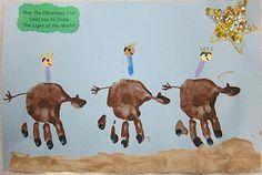 3 wisemen unit- make 3 wise men on their camels (hand prints) for christmas time, cute idea Preschool Christmas, Christmas Crafts For Kids, Christmas Activities, Preschool Crafts, Christmas Themes, Kids Christmas, Holiday Crafts, Craft Activities, Preschool Ideas