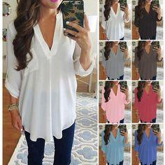 421d33c5ae4a Women S Loose Long Sleeve Chiffon V-Neck Shirt Fashion Casual Blouse ...