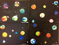 5th GRADE SOLAR SYSTEM MONO PRINTS- STEAM ART. The kids had a blast printing their planets. This was super messy, but a lot of fun!
