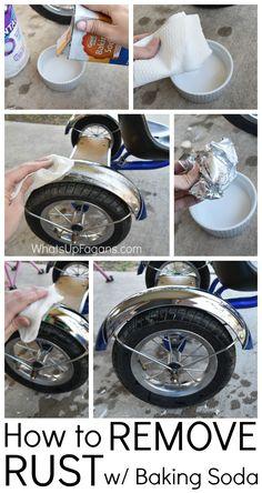 Great DIY Cleaning Tutorial over het verwijderen van roest driewieler van een jongen met zuiveringszout