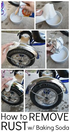 Great DIY Cleaning Tutorial on Removing rust from a boy's tricycle with baking…