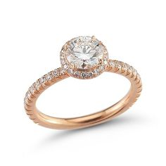 The Round Rose Gold Ali Setting - Micro-Pave - Engagement Rings