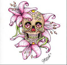 Sugar Skull w/ Lilies
