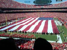 Arrowhead Stadium in Kansas City, Missouri / KC Chiefs football with US flag Kansas City Missouri, Kansas City Chiefs, Chiefs Football, Arrowhead Stadium, Jefferson City, Home Of The Brave, Land Of The Free, God Bless America, First Nations