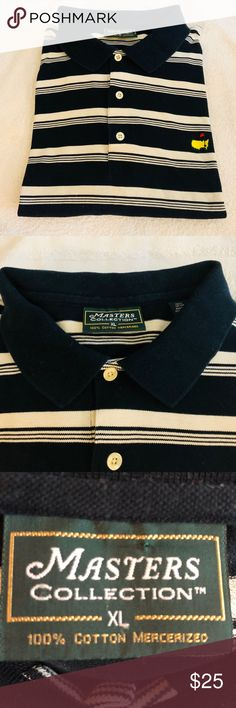 Masters Navy & White Stripe Golf Polo Shirt XL Masters Navy Blue and White Stripe Short Sleeve Golf Polo Shirt size XL! Great condition! Please make reasonable offers and bundle! Ask questions :) Masters Shirts Polos