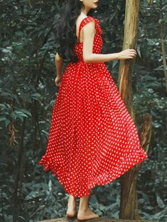 Red Polka Dot Spaghetti strap Ruffle Hem Dress | Choies