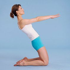 Sara had me doing these yesterday, let me tell ya! Thigh Stretch Strengthens: Glutes, Core; Stretches Quads