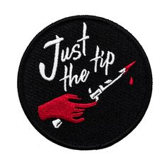 Just The Tip Patch. Switchblade knife dagger with blood iron on patch. Cool Patches, Pin And Patches, Funny Patches, Jacket Patches, Switchblade Knife, Elf, Embroidery Patches, Embroidered Patch, Hand Embroidery