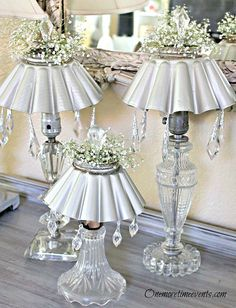 Today I thought I would share another project that was done for my daughters wedding.  These Vintage Lamps were redesigned to sit at the head table.  These were…