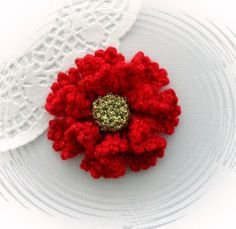 CROCHET BROOCH APPLIQUE RUCHE PETAL RED GOLD GLITTER LUREX FLOWER CHRISTMAS | eBay