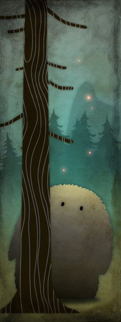 "Kristina Gordon  ""This is Tisipels, a shy character who lives in the forest. Since he has very smelly fur, he unfortunately has very few friends. In this picture he is lurking behind a tree, on one of those summer nights where it never gets really dark."""