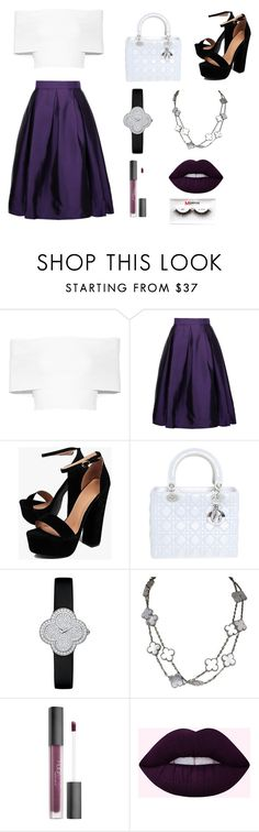 """""""Untitled #53"""" by shamamii-xx ❤ liked on Polyvore featuring Rosetta Getty, Raoul, Boohoo, Christian Dior, Van Cleef & Arpels, Huda Beauty and Morphe"""