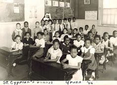 Sister Wilhelmina with her 2nd graders @ St. Cyprian's in 1946.