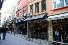 Street of music shops near Tünel  Square, Istanbul