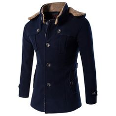 45.66$  Watch now - http://dih7c.justgood.pw/go.php?t=199863303 - Hooded Plus Size Fleece Single-Breasted Woolen Coat