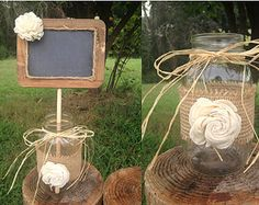 Rustic Wedding Decorations Mason Jars | Shabby Chic Rustic Chalkboard Sign in Mason Jar - Rustic Wedding Decor ...