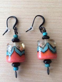 Southwestern Lampwork Earrings, Colorful Southwestern Beaded Earrings,  Coral Turquoise & Black  Handcrafted Earrings on Etsy, $21.00