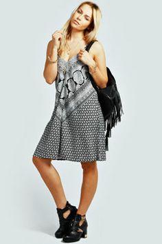 Eve Scarf Print Paisley Slip Dress at boohoo.com