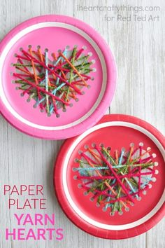 Fun and easy Valentine's Day craft: paper plate yarn hearts! A fantastic fine motor project for youngsters!