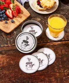 The 12-Pc. Coasters in a Tin Set are ultra-durable and absorbent. Each paper coaster has artwork that represents your favorite things. When not in use, they fit