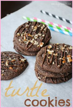 Turtle Cookies- #chocolate cookies with #caramel and pecans @shugarysweets