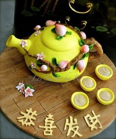 Chinese people set the standard in art and creativity. View these 50 Fantastic Chinese Cake Decorating Ideas to find that Human creativity has no limits. Pretty Cakes, Beautiful Cakes, Amazing Cakes, Oscar Wilde, Chinese Cake, Chinese Food, Chinese New Year Cookies, Teapot Cake, New Year's Cake