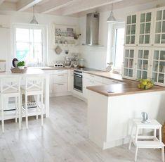 Kitchen. Grey floor, wood countertop, white cabinets - #cabinets #countertop #floor #kitchen #white - #Genel