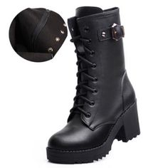 British New Black High Quality Genuine Leather Platform Chunky High Heels Lace Up Belt Buckle Short Ankle Combat Boots For Women-in Boots from Shoes on Aliexpress.com | Alibaba Group
